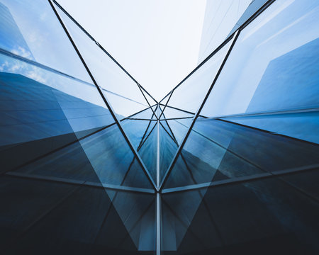 Architecture detail Glass Facade Perspective Modern building Background