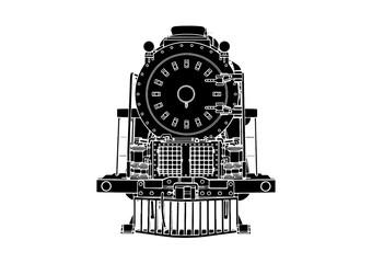 silhouette retro steam engine vector