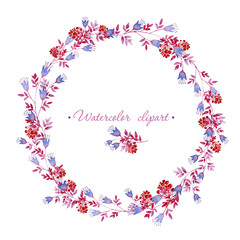 Floral rounded blue, pink and red wreath. Cliparts for wedding design, artistic creation.
