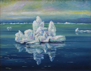 Ice drift, Arctic ocean on a polar day. Picturesque picture: oil on canvas. Author: Nikolay Sivenkov.