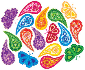 Floral and Butterfly Paisley Pattern vector Illustration
