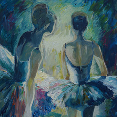 Baleriny Malarstwo akrylowe i pełne spektrum na płótnie i tekturze twórczej malarstwa artysty - 213761545