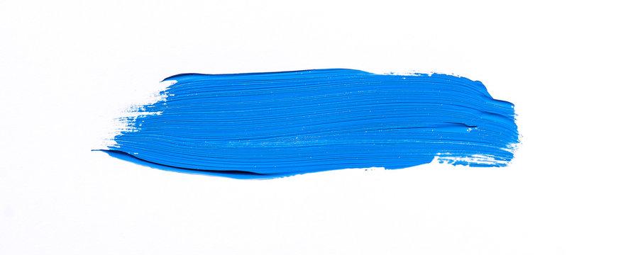Blue brush stroke isolated over white background