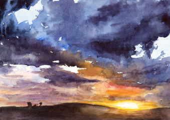 Watercolor illustration of bright sunset