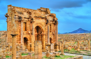 Trajan Arch within the ruins of Timgad in Algeria.