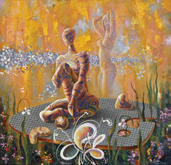 Fantasy on the art palette. Surrealistic image, consisting of fictional girls, leaves and flowers. Picturesque picture: oil on canvas. Author: Nikolay Sivenkov.