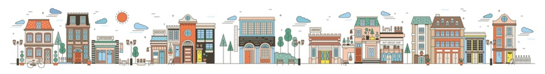 Colorful horizontal cityscape with street of European city full of elegant buildings, residential houses, stores and shops, public locations. Creative vector illustration in modern line art style.