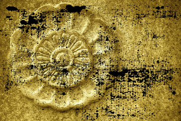 Acrylic Prints Dirty grunge Ultra yellow Ornate stone texture, circle rock shape, background for web site or mobile devices