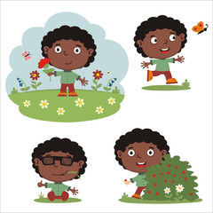 Vector set of boy in cartoon style on summer meadow with flowers, isolated on white background.