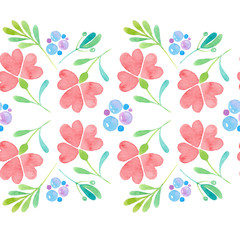 Seamless pattern with painted pink flowers isolated on white background. Watercolor illustration