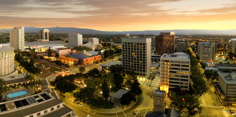 Photo sur cadre textile Amérique Centrale Panorama of San Jose California Downtown