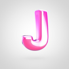 Pink letter J uppercase isolated on white background.