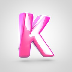 Pink letter K uppercase isolated on white background.
