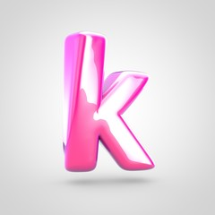 Pink letter K lowercase isolated on white background.