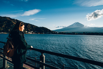 Women wear overcoat, She looking to the big fuji volcano, Cold weather in the morning.