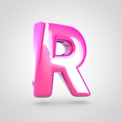 Pink letter R uppercase isolated on white background.
