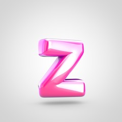Pink letter Z lowercase isolated on white background.