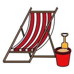 Wall Mural - wooden beach chair and sand bucket