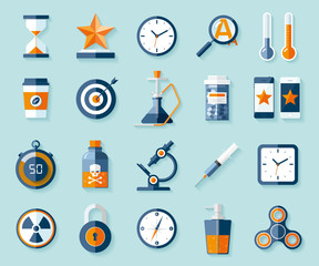 Icon set in flat style. Twenty different objects on color background. Vector design elements for you business projects