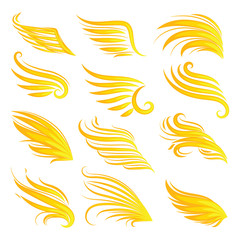 Wings fire icon set