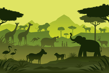 Animals and Wildlife Green Background, Silhouette, Nature, Zoo and Safari
