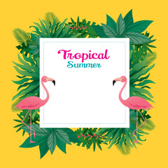 Pink Flamingo with Tropical Jungle Frame