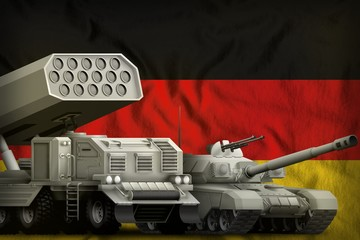 Germany heavy military armored vehicles concept on the national flag background. 3d Illustration