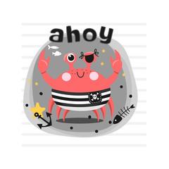 Cute pirate crab illustration