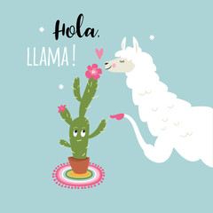 cute llama with cactus flower ,vector illustration on blue background