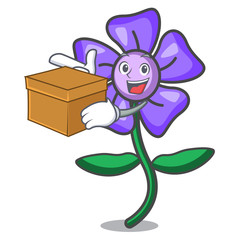 With box periwinkle flower character cartoon