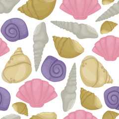 Sea shell marine beach nature seamless pattern background colorful tropical seashells underwater vector illustration