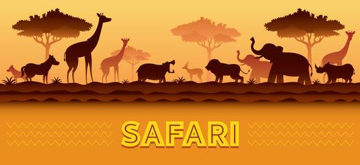 African Safari Animals Silhouette Background