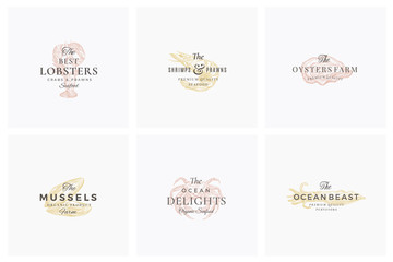 Premium Seafood Abstract Vector Signs, Symbols or Logo Templates Set. Elegant Hand Drawn Shrimp, Mussel, Oyster, Crab and Squid Sketches with Classy Retro Typography. Vintage Luxury Emblems.