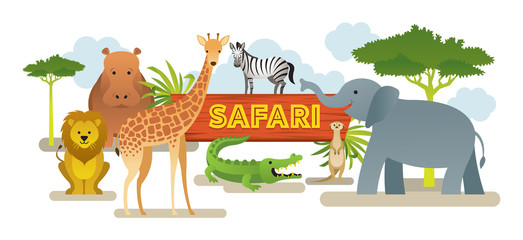 Group of African Safari Animals