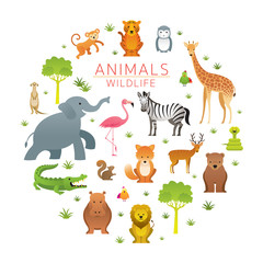 Group of Wild Animals, Zoo, Kids and Cute Cartoon Style