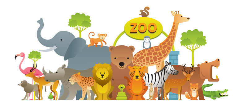 Group of Wild Animals, Zoo, Entrance Sign, Kids and Cute Cartoon Style