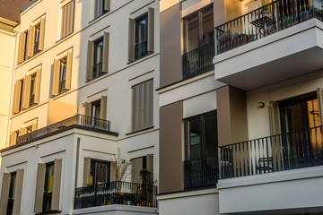 luxury city flats with balcony and window blinds