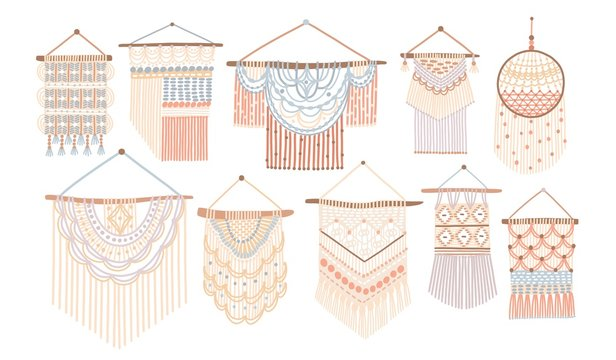 Collection of macrame wall hangings. Bundle of elegant handmade home decorations made of cotton cord isolated on white background. Colorful hand drawn vector illustration in flat cartoon style.
