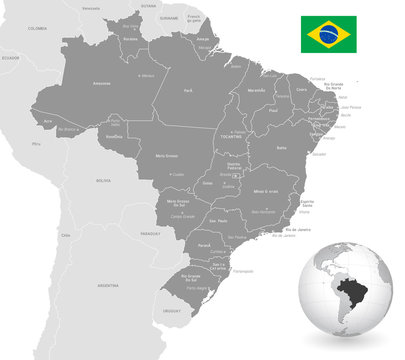 Grey Vector Political Map of Brazil