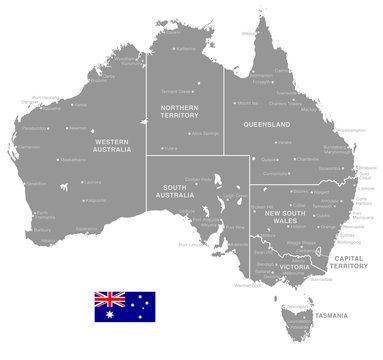 Grey Vector Political Map of Australia