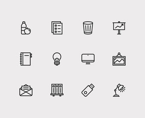 Office icons set. Presentation board and office icons with picture, notebook and library. Set of task for web app logo UI design.