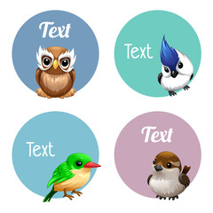 vector cute cartoon labels of Birds, eagle owl, parrot. Chaffinch. green bird. Sparrow, blue crest, Canary,
