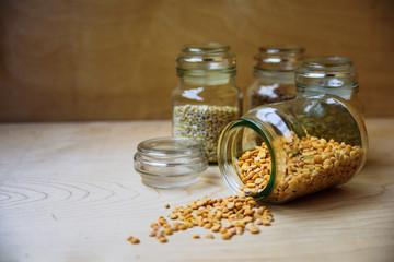 Dry peas in glass jar
