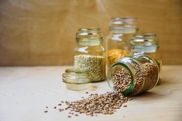 Whole wheat in glass jar