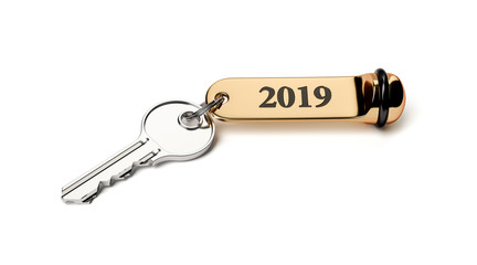 Room key with golden keychain 2019 new year