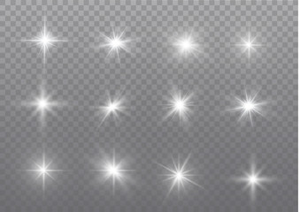White sparks glitter special light effect. Vector sparkles on transparent background. Christmas abstract pattern. Sparkling magic dust particles.