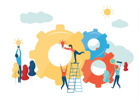Vector creative illustration of business graphics, the company is engaged in the joint construction of column graphs, raising the career path to success,the concept of success and moving towards idea.