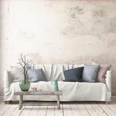 Mock up interior in Scandinavian style with a sofa. 3D rendering