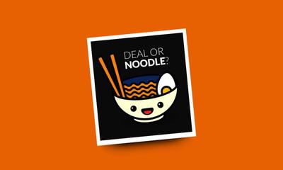 Deal Or Noodle Pun Poster Vector Illustration in Flat Style Line Art