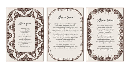 Set of vintage templates with  henna frame, mehendi pattern and a place for the text. Vector element for invitations, menus, thank you letters and your design